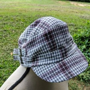 Accessories - JUST IN-Pink,Gray Plaid Brim Hat with side buckle